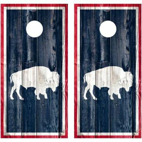 Buffalo Barnwood Cornhole Wood Board Skin Wraps FREE LAMI