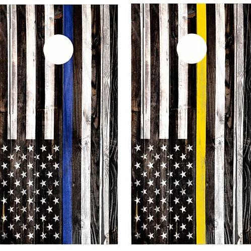 Blue And Yellow Line Flags Cornhole Wood Board Skin Wrap