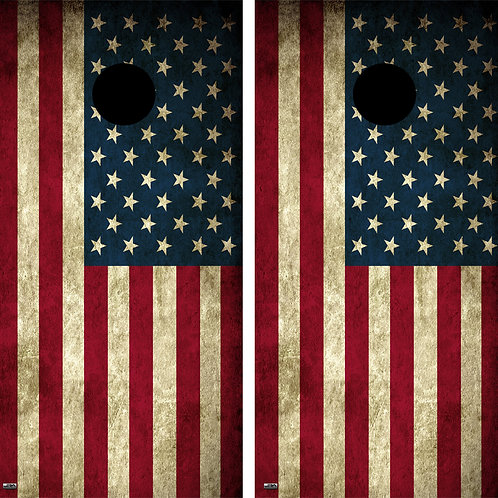 U.S Flag Vintage Cornhole Board Skin Wrap FREE LAMINATE