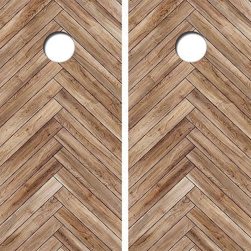 Herringbone Wood Cornhole Wood Board Skin Wrap