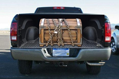 Locked Wooden Treasure Chest Tailgate Wrap Vinyl Graphic Decal Sticker Wrap