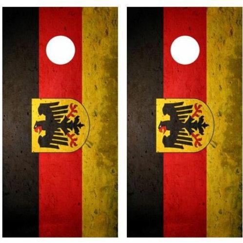 Grunge German Flag Cornhole Wood Board Skin Wrap