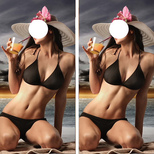 Beach Black Bikini Girl Cornhole Wrap FREE LAMINATE
