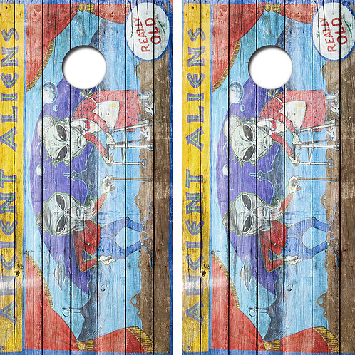 Ancient Aliens Cornhole Board Skin Wraps FREE LAMINATE