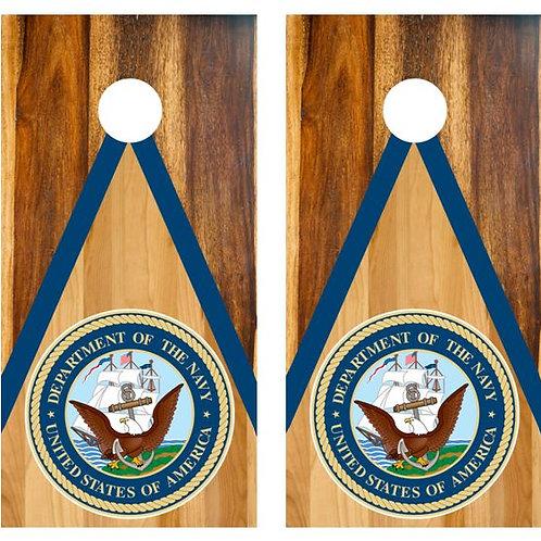 U.S. Navy Two Tone Wood Cornhole Wood Board Skin Wrap