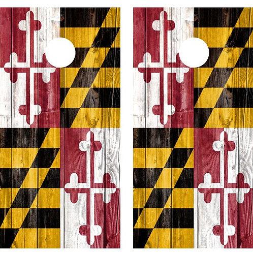 Maryland State Flag Wood Cornhole Board FREE LAMINATE