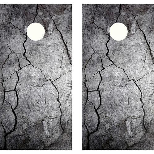 Cracked Cement Cornhole Wood Board Skin Wrap