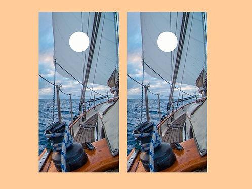Sailboat Under Way Cornhole Wood Board Skin Wrap