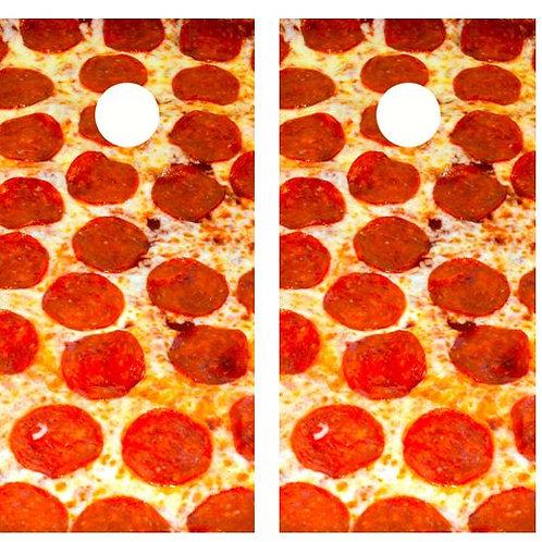 Pepperoni Pizza Cornhole Wood Board Skin Wrap