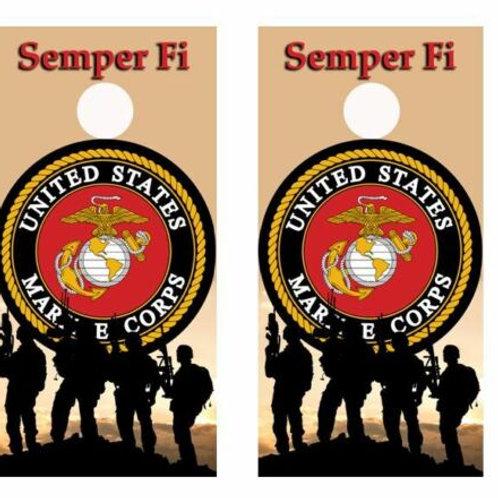 U.S. Marine Corps Semper Fi Cornhole Wood Board Skin Wraps FREE L