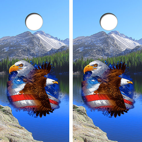 American Eagle Mountain Style Cornhole Board Skin Wraps FREE LAMINATE