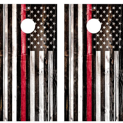 American Flag Red Line Cornhole Board Wraps FREE LAMINATE