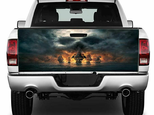 Pirate Ships w/Skull Cloud Tailgate Wrap Vinyl Graphic Decal Sticker