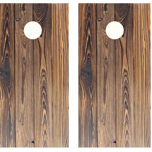 Dark Stained Wood Planks Cornhole Wood Board Skin Wrap