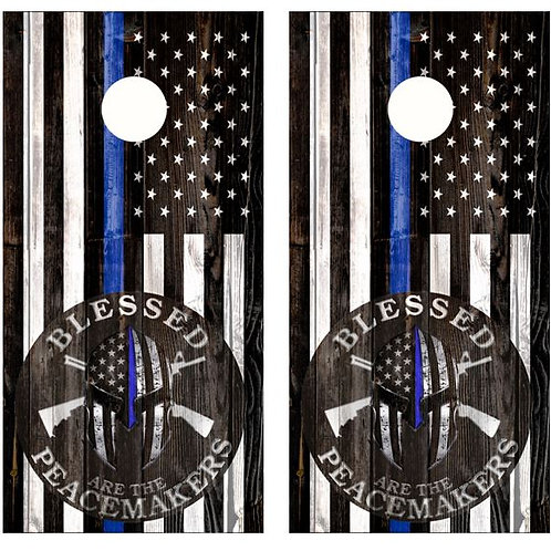 Blessed Are The Peacemakers Blue Line Flag Cornhole Wood Board Skin Wrap
