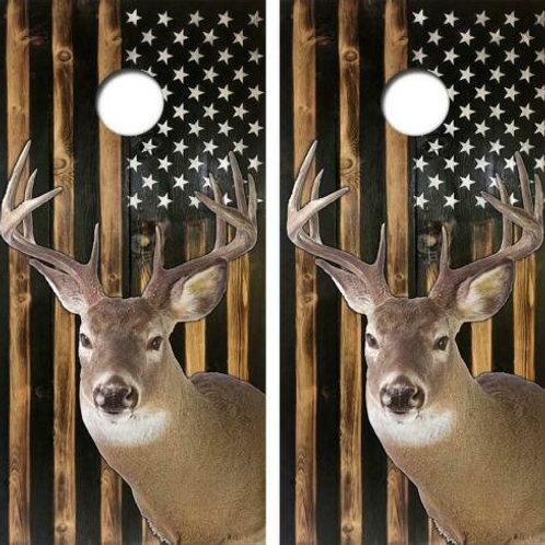 White Tail Deer Rustic American Flag Cornhole Wood Board Skin Wraps
