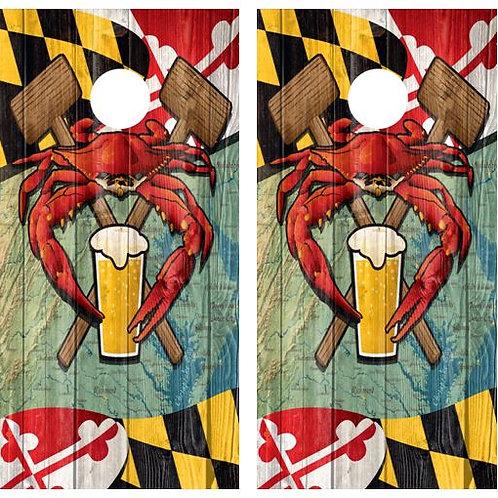 Maryland Crab & Beer Themed Cornhole Wood Board Skin Wraps FREE LAMINA