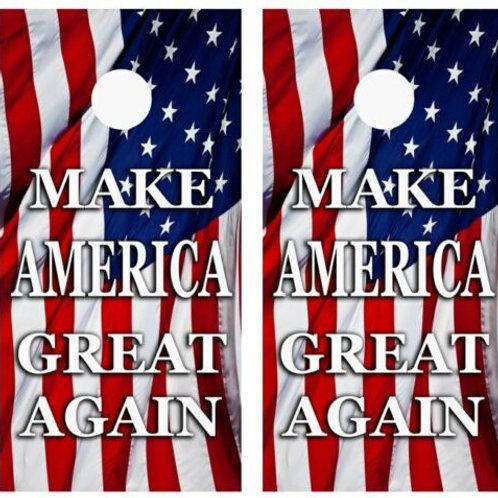 Make America Great American Flag Cornhole Wood Board Skin Wrap