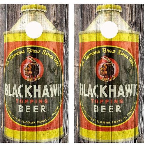 Vintage Blackhawk Beer -  Beer Can Barnwood Cornhole Wood B