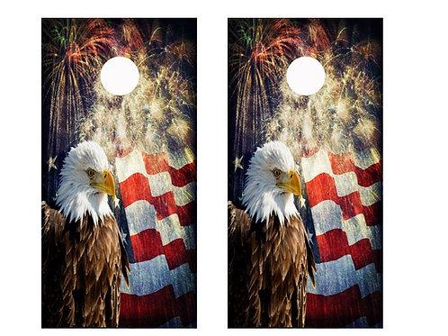 4th Of July Themed Cornhole Wood Board Skin Wrap