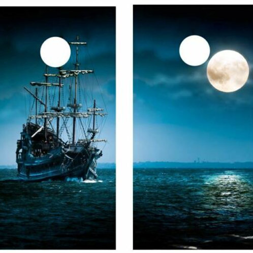 Tall Ship Full Moon Cornhole Wood Board Skin Wrap