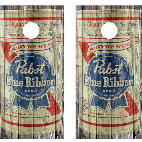 Vintage Pabst Blue Ribbon Beer -  Beer Can Barnwood Cornhole Wood B
