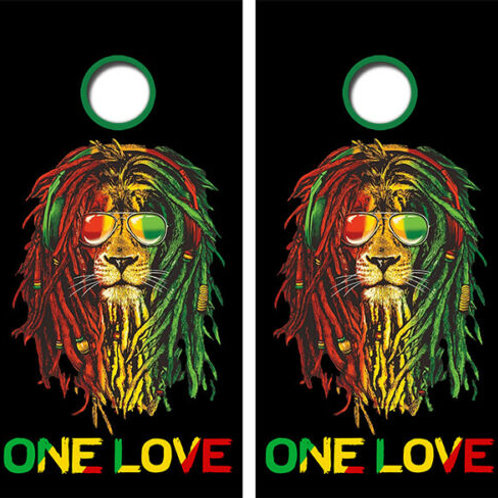 Rasta Lion One Love Cornhole Wood Board Skin Wraps FREE LAMINA