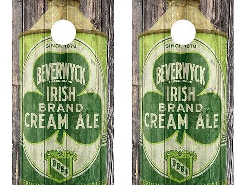 Vintage Beverwyck Irish Cream Ale -  Beer Can Barnwood Cornhole Wood B
