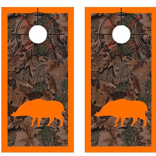 Hog / Boar Hunter Real Tree Camo Cornhole Wood Board Skin Wr