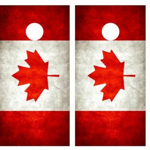 Grunge Canadian Flag Cornhole Wood Board Skin Wrap