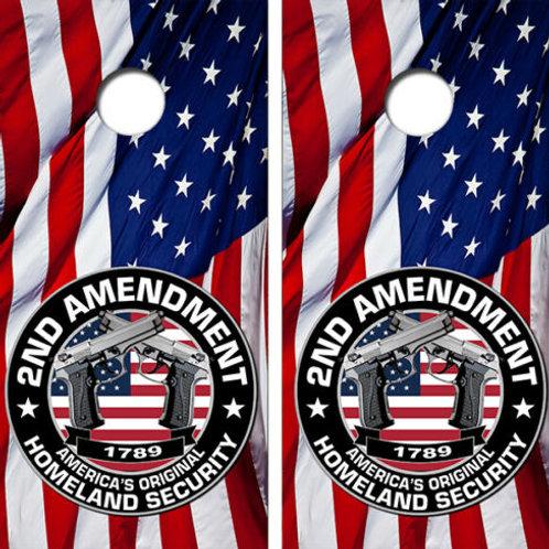 American Flag 2nd Amendment Cornhole Wood Board Skin Wrap