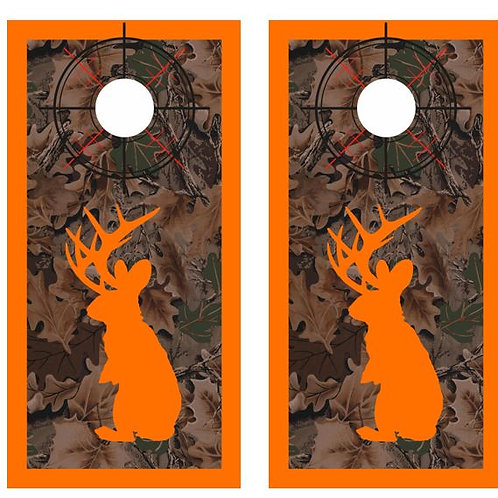 Jackalope Hunter Camo Cornhole Wood Board Skin Wr