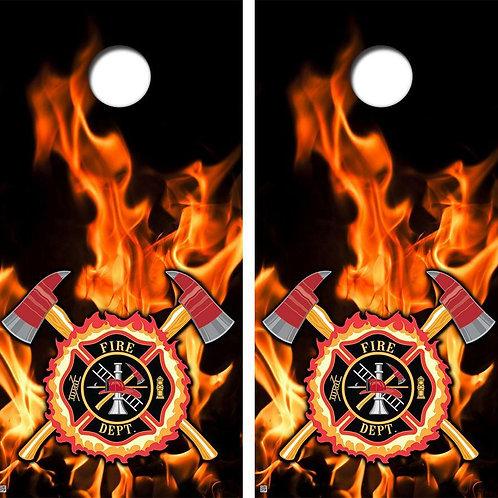 Firefighter Flames & Axes Cornhole Wood Board Skin Wrap