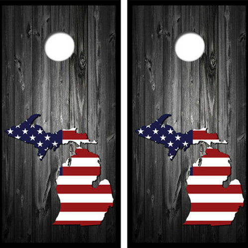 US Flag Michigan Barnwood Cornhole Wood Board Skin Wraps FREE L