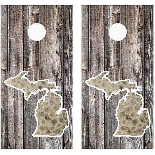 State Of Michigan Petosky Stone Barnwood Cornhole Wood Board Skin Wrap