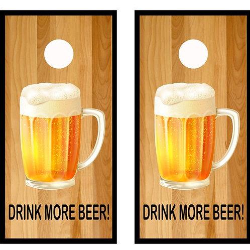 Drink More Beer Cornhole Wood Board Skin Wra