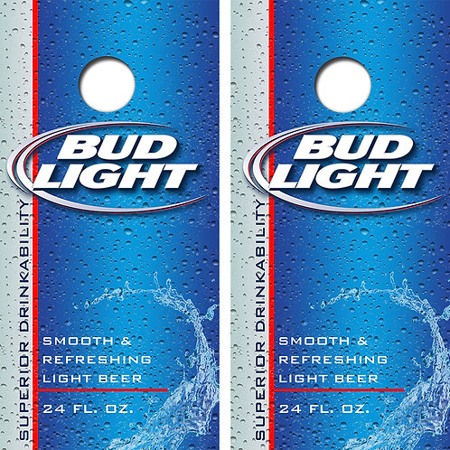 Bud Light Beer Cornhole Wood Board Skin Wraps FREE LAMINATE