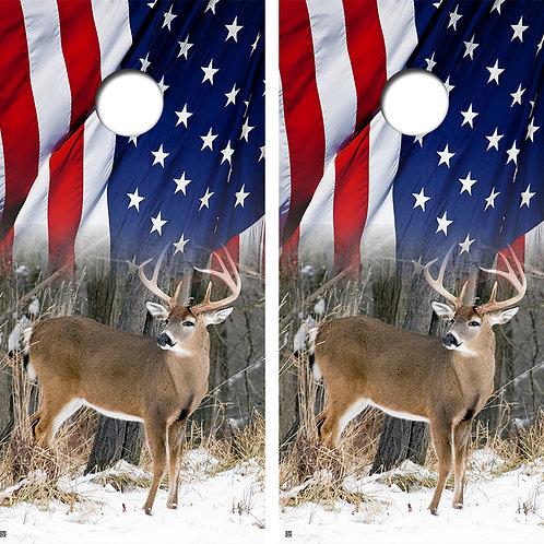 Buck American Flag Cornhole Board Wraps FREE LAMINATE