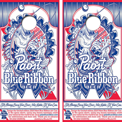 Pabst Blue Ribbon Fishing Cornhole Wood Board Skin Wraps FREE LAMINATE