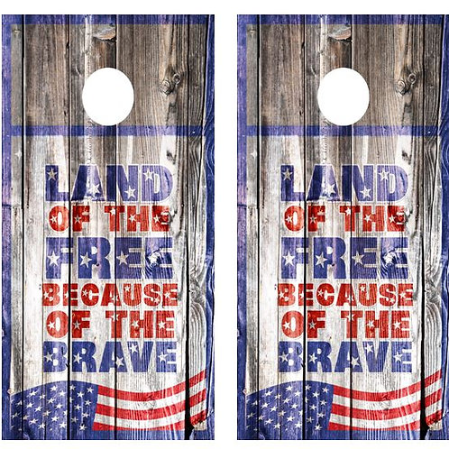 Land Of The Free.... Barnwood Cornhole Wood Board Skin Wr