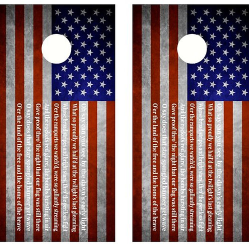 National Anthem Flag Cornhole Wood Board Skin Wrap