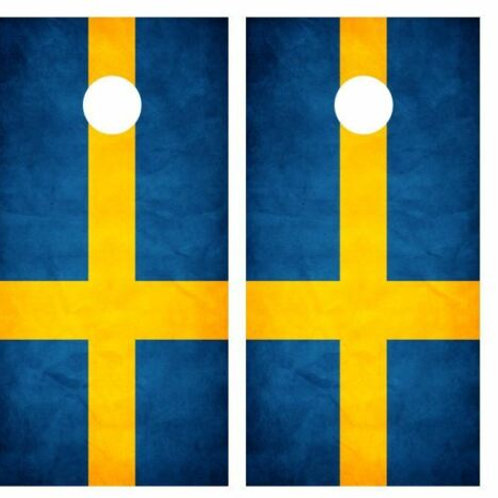 Grunge Swedish Flag Cornhole Wood Board Skin Wrap