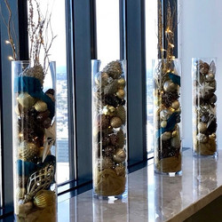 Glass Cylinders filled with Holiday Chee