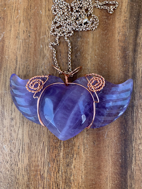 Fluorite Heart with Wings Wire Wrapped Necklace