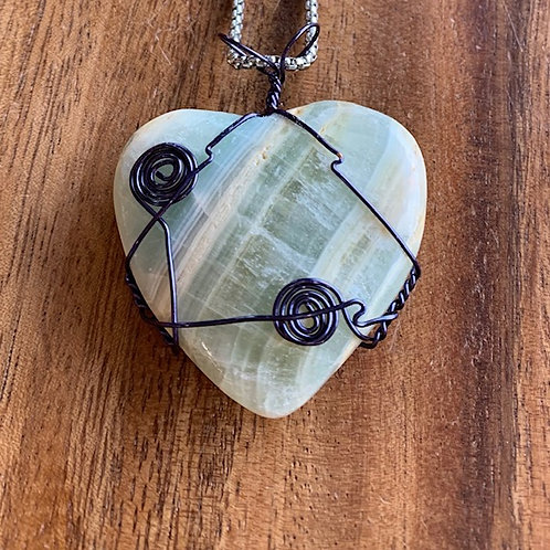 Blue Calcite Heart Wire Wrapped Necklace