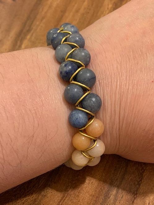 Matte Blue Chalcedony and Peach Aventurine Brass Ring Bracelet 03