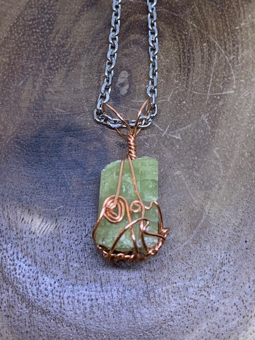 Epidote (Green Tourmaline) Wire Wrapped Necklace