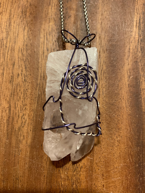 Danburite Twin with Pyrite inclusion Wire Wrapped Necklace