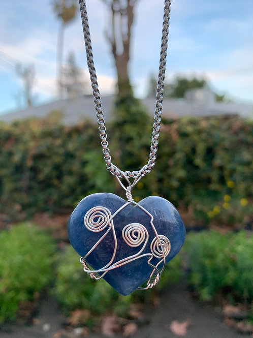 Blue Fluorite Heart Wire Wrapped Necklace
