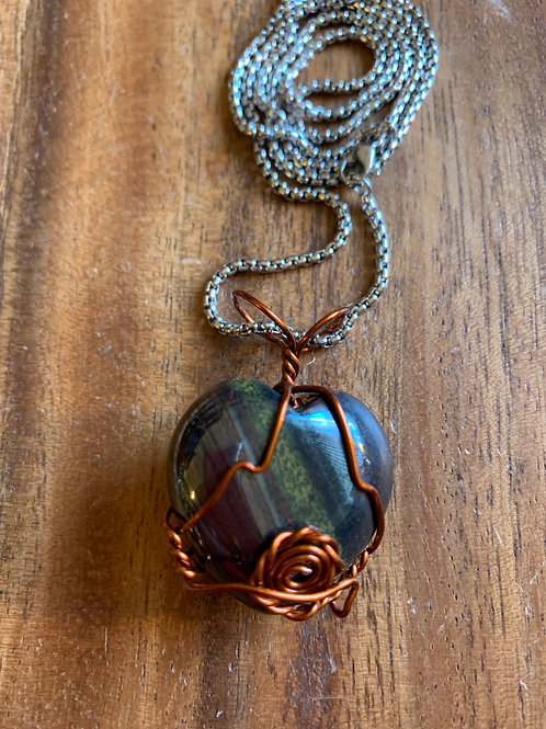 Tiger Iron Heart Wire Wrapped Necklace